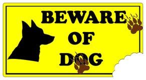 Beware знака собаки Стоковая Фотография