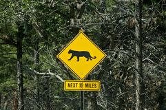 Mountain Lion Warning Sign Stock Photo