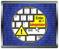 Beware of Administrator Rights. The Administrator has complete access on computer systems, he can enter and control every computer Stock Images