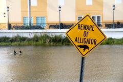 Beware of alligator warning caution sign Royalty Free Stock Photos
