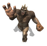 Beware of the Attacking Troll. A powerful troll attacks, as seen from above - 3d render Royalty Free Stock Photos
