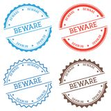 Beware badge isolated on white background. Flat style round label with text. Circular emblem vector illustration Royalty Free Stock Photos