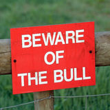 Beware of the bull sign Stock Photos