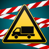 Beware of the car. Safety warning sign. Stock Photos