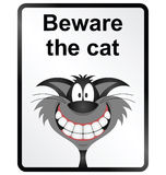 Beware the Cat Information Sign Royalty Free Stock Photo