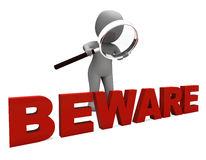 Beware Character Means Caution Dangerous Or Warning Royalty Free Stock Photos