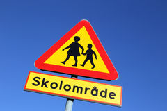 Beware of children in the school area Royalty Free Stock Photos