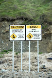 Beware of cliff falls signs. On ballybunion beach in county kerry ireland Stock Image