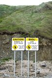Dual beware of cliff falls signs Royalty Free Stock Photo