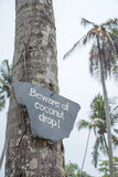 Beware of coconut drop label Stock Photography