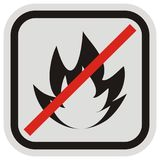 Warning sign, beware of the danger of fire. Beware of the danger of fire, warning sign, vector icon. Gray and black backstroke. No fires. The ban on the Royalty Free Stock Photo