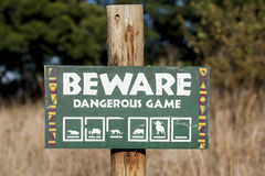 Beware of Dangerous Game stock photo