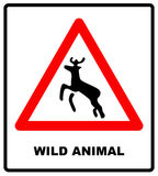 Beware deer crossing warning traffic signs. Royalty Free Stock Photography