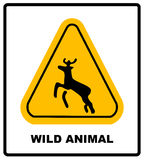 Beware deer crossing warning traffic signs. Royalty Free Stock Image