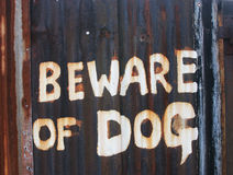 Beware of the dog. Sign Stock Photos