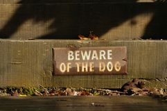 Beware of Dog. Old beware of dog sign on steps Royalty Free Stock Image