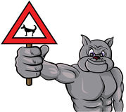 Beware with the dog!. Vector illustration of a bulldog holding a warning sign Stock Image