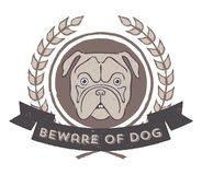 Beware of Dog badge Royalty Free Stock Images