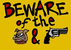 Beware of the dog and owner Royalty Free Stock Images
