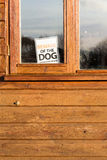 Beware Of Dog Sign in Window. Beware of the dog please close the gate sign in window on brown shed stock photos