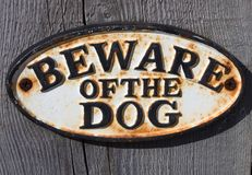 Beware of the dog sign Stock Photo