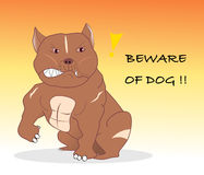 Beware of dog. Strong pitbull be respectful with vector graphic Stock Image