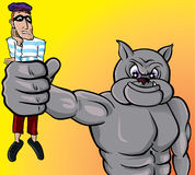 Beware with the dog, thief!. Vector illustration of a bulldog holding a thief Stock Photo