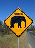 Beware of elephant. Road sign Caution elephants crossing Royalty Free Stock Photos
