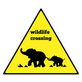 Beware elephant traffic sign. Elephant warning traffic sign. Warning traffic sign isolated on a white background. Wildlife Crossin. G Stock Image