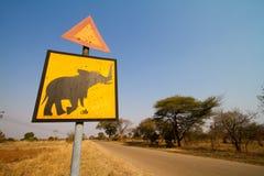 Beware of elephants. An elephant crossing sign in Zimbabwe Royalty Free Stock Photo