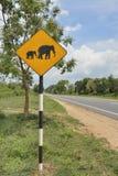 Beware elephants roadsign Royalty Free Stock Photo