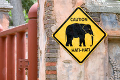 Beware of Elephants Sign. In English and Indonesian Stock Images