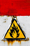 Beware of fire sign. On rusty metal royalty free illustration