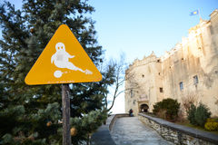 Beware of ghosts. Sign informing of ghosts at the entrance to Niedzica castle. Pieniny Nature Park, Lesser Poland Stock Images