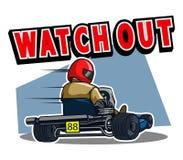 Beware Gokart Race. Vector illustration for go kart race theme Royalty Free Stock Photography