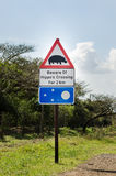 Beware of hippo`s crossing, road sign. Garden route, South africa Stock Image