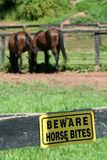 Beware horse bites sign Royalty Free Stock Photo