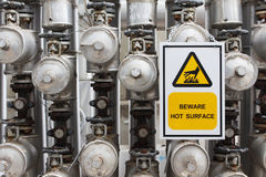 Beware hot surface. Warning sign with stream pipe line royalty free stock image
