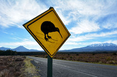 Beware of Kiwi roadsign. NATIONAL PARK, NZ - DEC 8 2014:Beware of Kiwi roadsign in Tongariro National Park.There are approximately 70,000 kiwi left in all of New stock image