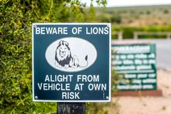 `Beware of lions` warning sign at the entrance of a picknick parking area in Addo Elephant National Park near Port Elizabeth. Stock Photo