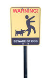 Beware of the mad dog - warning sign. Stock Photos