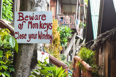 Beware of monkeys - Danger sign Royalty Free Stock Image