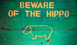 Beware o hipopótamo imagens de stock royalty free
