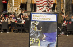 Beware of pickpockets Stock Images