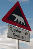 Beware of the Polar Bears sign Royalty Free Stock Photography