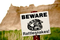 Rattlesnake warning sign Stock Image