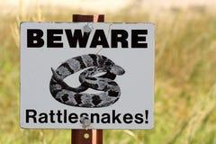 Beware Rattlesnakes Sign stock image