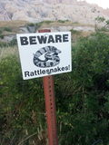 Beware Rattlesnakes sign Royalty Free Stock Photo