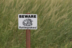 Beware of Rattlesnakes Sign Stock Photography