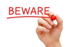 Beware Red Marker Stock Photo